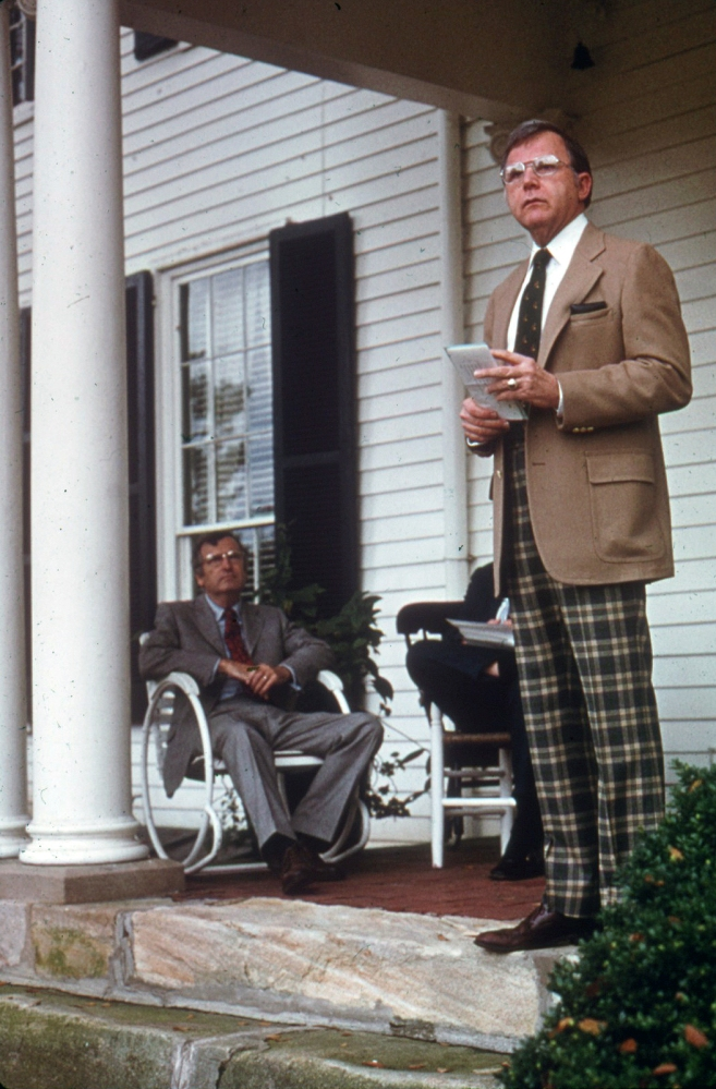 MWC president Prince Woodard giving remarks at Belmont opening day Oct. 19 1975 Director Dick Reid sitting